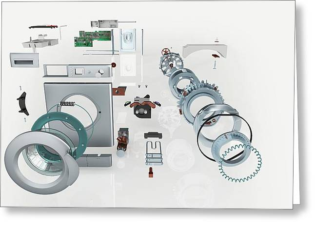 Disassembled Parts Of A Washing Machine Greeting Card by Dorling Kindersley/uig