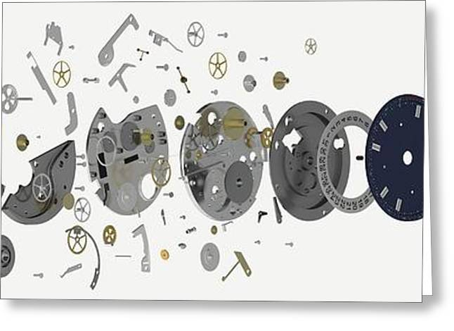 Disassembled Parts Of A Wristwatch Greeting Card