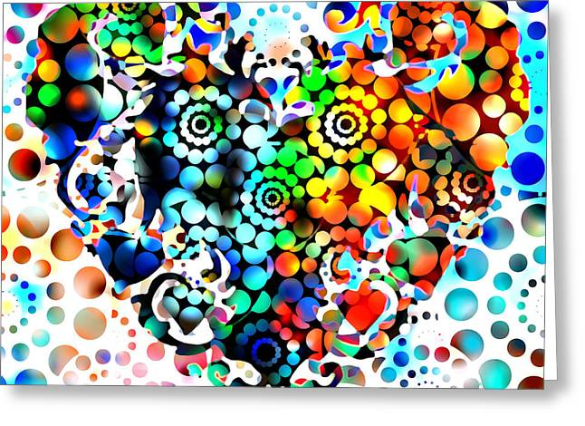 Disco Heart Greeting Card by Robert R Splashy Art Abstract Paintings