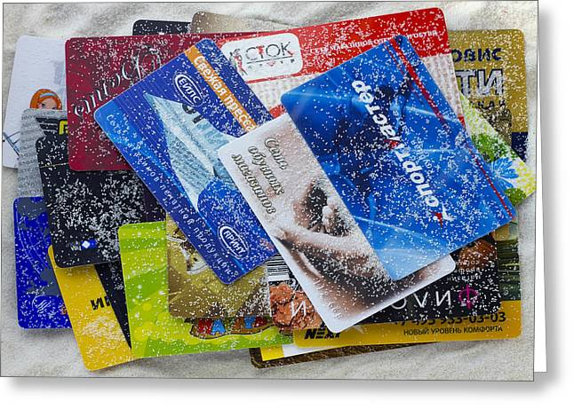 Discount Russian Cards Under Pressure Of The American Sanctions  Greeting Card