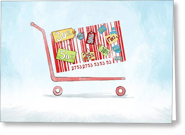 Discounted Sale Advertisement Greeting Card by Fanatic Studio / Science Photo Library
