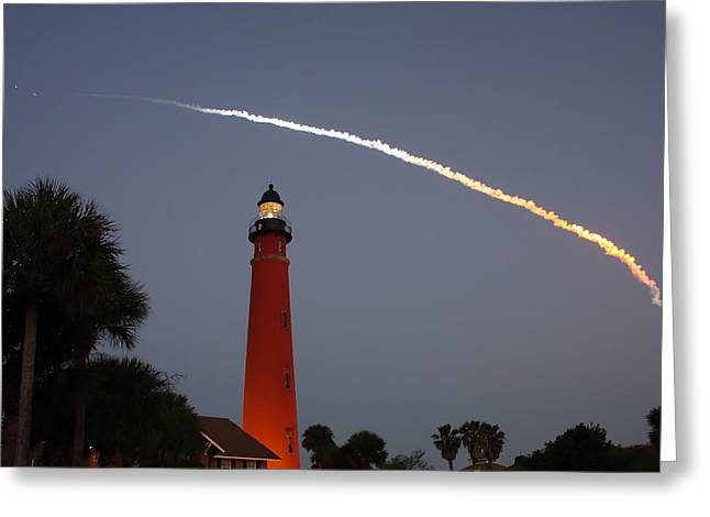 Discovery Booster Separation Over Ponce Inlet Lighthouse Greeting Card by Paul Rebmann