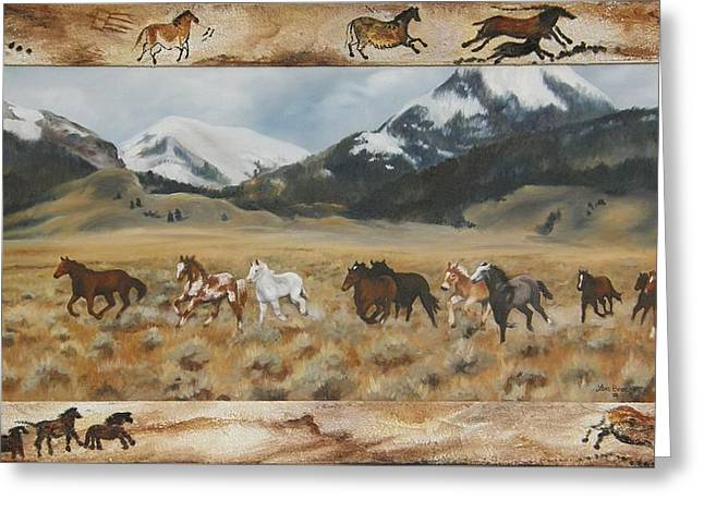 Greeting Card featuring the painting Discovery Horses Framed by Lori Brackett