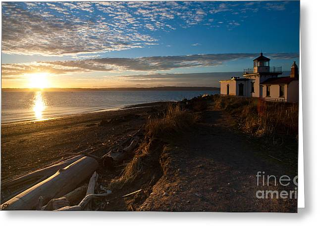 Discovery Park Lighthouse Sunset Greeting Card by Mike Reid