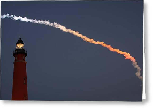 Greeting Card featuring the photograph Discovery Sunset Plume by Paul Rebmann