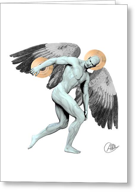 Discus Thrower Angel Greeting Card by Quim Abella