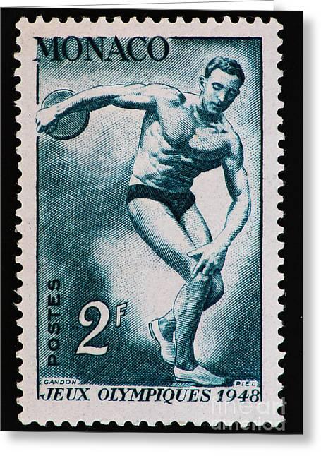 Discus Vintage Postage Stamp Print Greeting Card