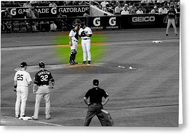 Discussing Strategy Pettitte And Posada Highlighted Greeting Card by Aurelio Zucco