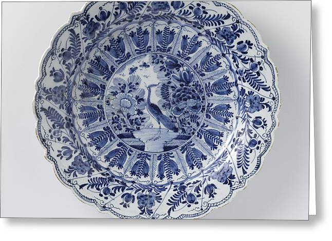 Dish, De Lampetkan, C. 1740 - C. 1790, Round Dish Of Blue Greeting Card by Quint Lox