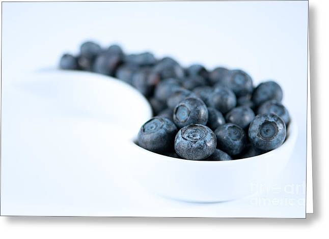 Dish Of Blueberries Greeting Card by Amanda Elwell