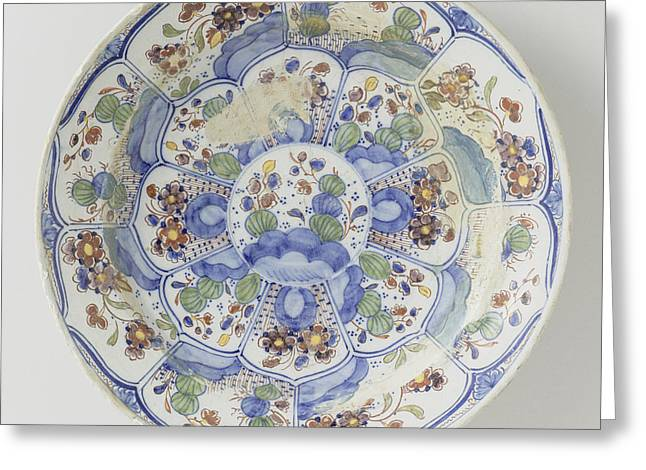 Dish Polychrome Painted Faience, De Porceleijne Schotel Greeting Card by Quint Lox