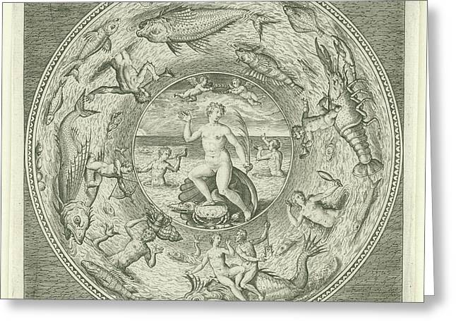 Dish With Sea Goddess Galatea Adriaen Collaert Greeting Card by Adriaen Collaert And Philips Galle