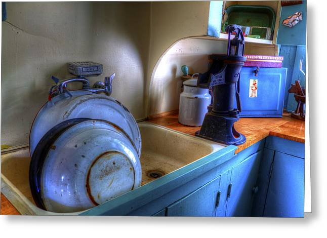 Dishes Are Done Greeting Card by David Simons