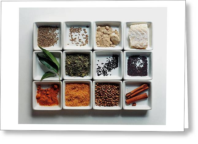 Dishes Of Spices Greeting Card