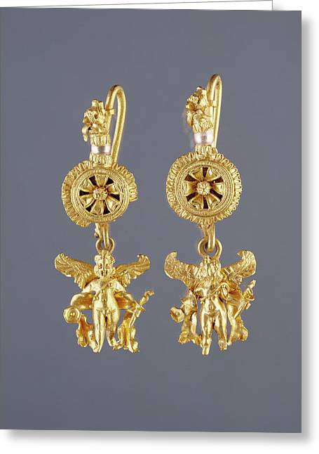 Disk Pendant Earrings With A Figure Of Eros Unknown Greeting Card by Litz Collection