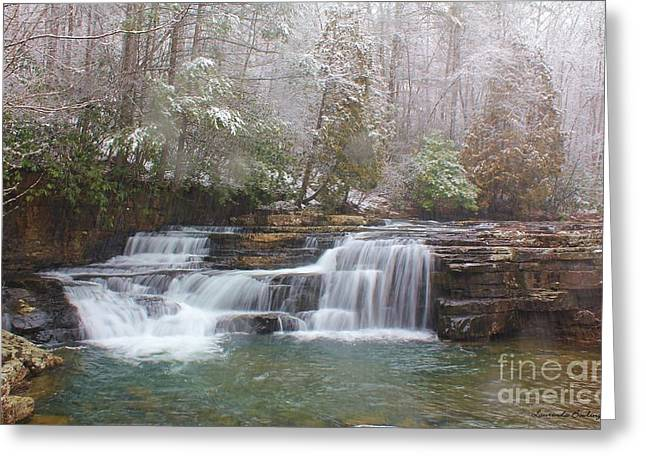 Dismal Falls In Winter Greeting Card by Laurinda Bowling