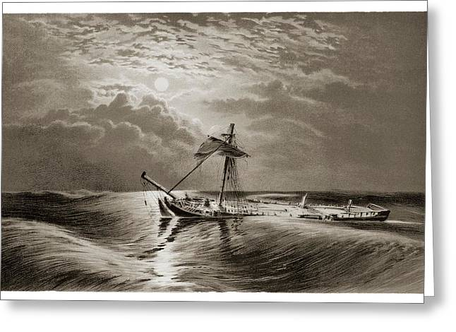 Dismasted Ship After A Storm. Greeting Card