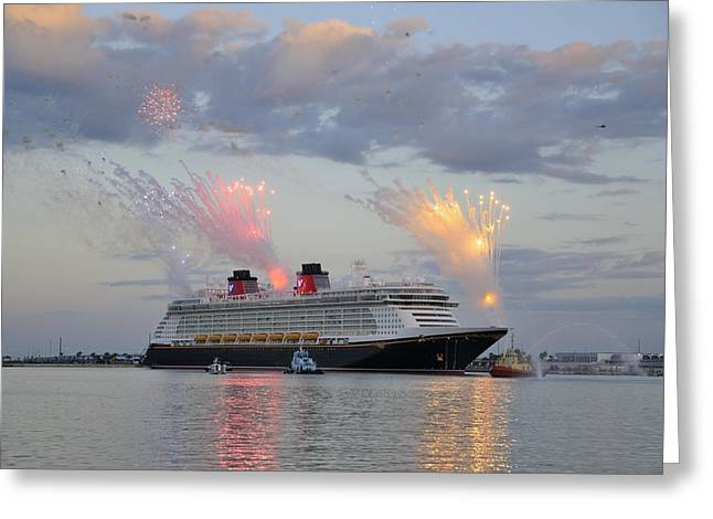 Disney Fantasy And Fireworks Greeting Card