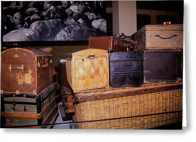 Display Of Old Trunks And Suitcases Greeting Card