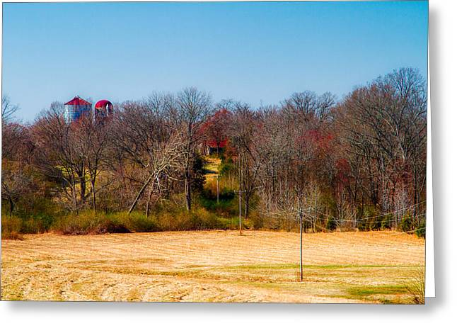 Distant Barns - Rural Art Greeting Card by Barry Jones
