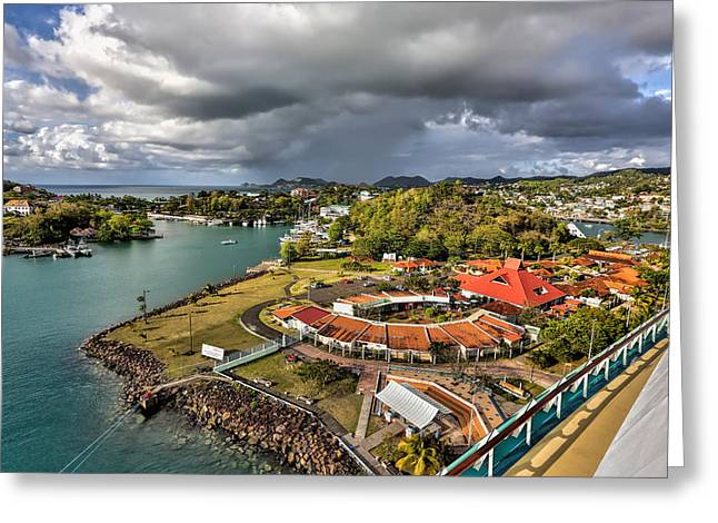 Distant Rain Near The Port In Castries St. Lucia Greeting Card