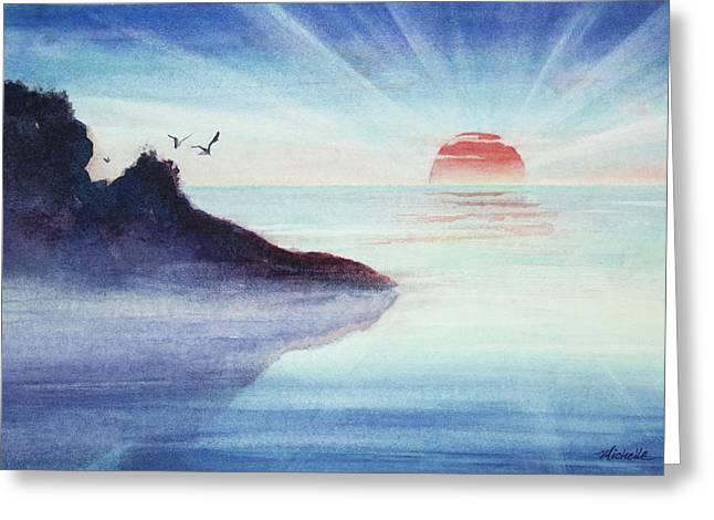 Distant Shoreline Sunrise Watercolor Painting Greeting Card by Michelle Wiarda