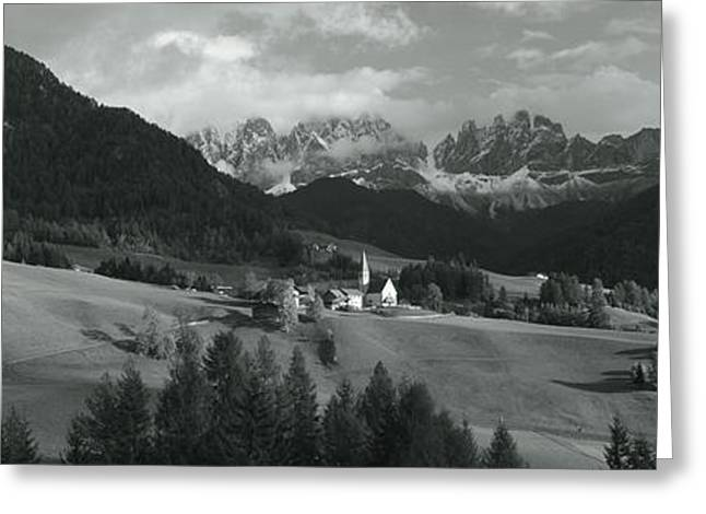 Distant View Of A Church, St. Magdelena Greeting Card by Panoramic Images