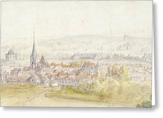 Distant View Of A Town With A Chateau Greeting Card by Adam Frans van der Meulen