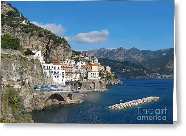 Distant View Of Atrani On Amalfi Coast Greeting Card by Kiril Stanchev
