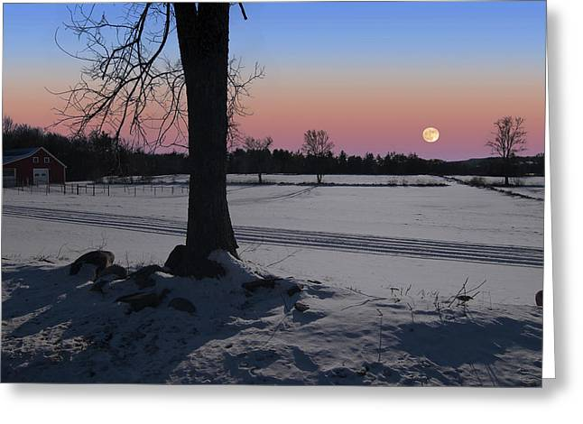 Greeting Card featuring the photograph Distant Winter Moonrise by Larry Landolfi