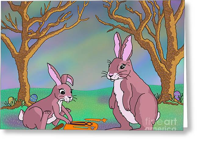Distracted Easter Bunnies Greeting Card by Audra D Lemke