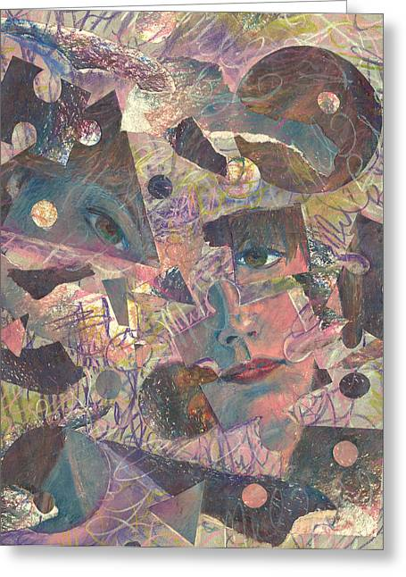 Distraction A Self Portrait Greeting Card by Melinda Dare Benfield