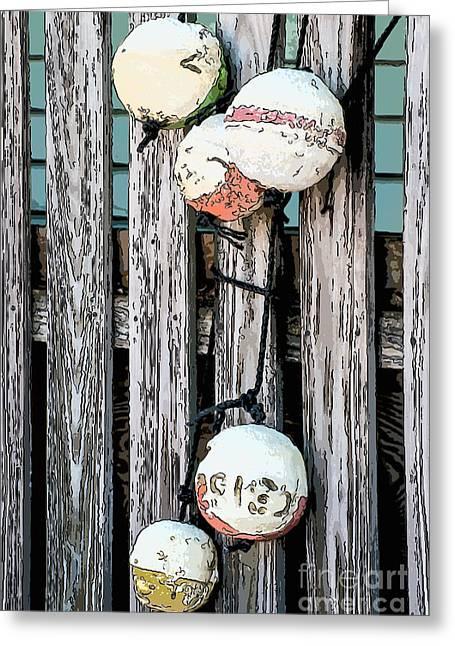 Distressed Buoys On Fencing Key West - Digital Greeting Card by Ian Monk