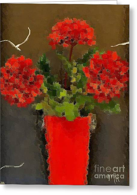 Distressed Red Flowers Pictures Greeting Card by Marsha Heiken