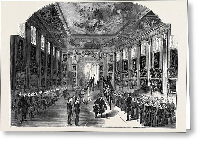 Distribution Of The Nelson Medals, In The Painted Hall Greeting Card