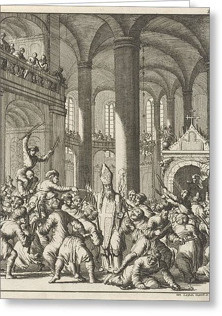 Distribution Of The Sacred Fire During Easter In The Holy Greeting Card by Jan Luyken
