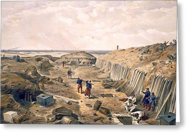 Ditch Of The Bastion Du Mat, Plate Greeting Card by William 'Crimea' Simpson