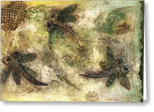 Rustic Dragonflies Autumn Greeting Card