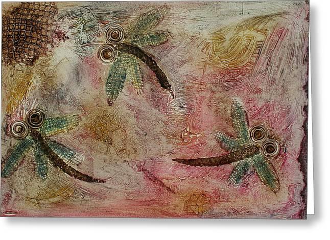 Rustic Dragonflies Pinks Greeting Card