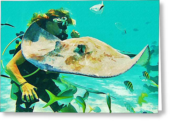 Diver And Stingray Greeting Card by John Malone
