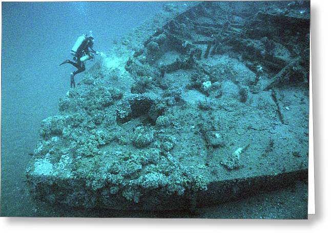 Diver At Uss Monitor Shipwreck Greeting Card by Noaa