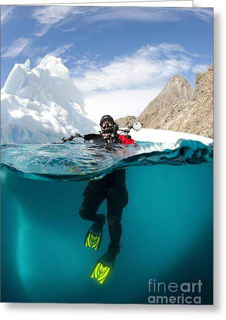 Diver In Front Of An Iceberg, Astrolabe Greeting Card