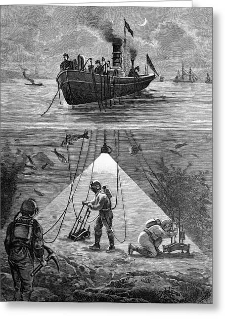 Divers Using Electric Lighting Greeting Card