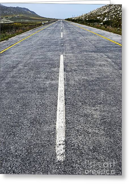 Dividing Line On A Highway Road Greeting Card by Sami Sarkis