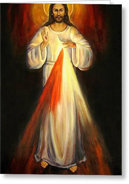 Divine Mercy Greeting Card by Sheila Diemert