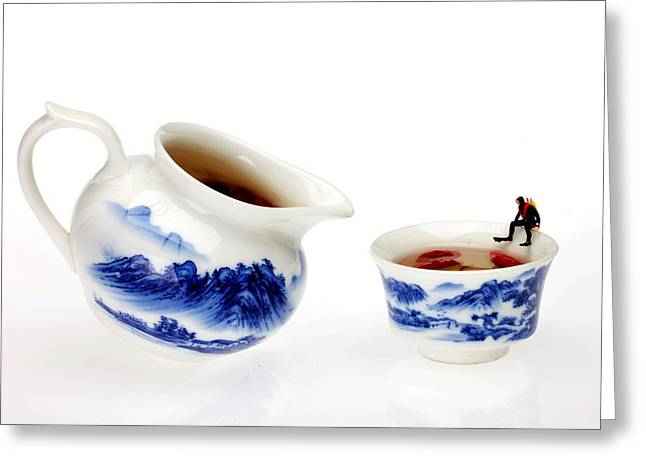 Diving Among Blue-and-white China Miniature Art Greeting Card by Paul Ge