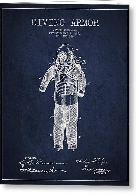 Diving Armor Patent Drawing From 1893 Greeting Card