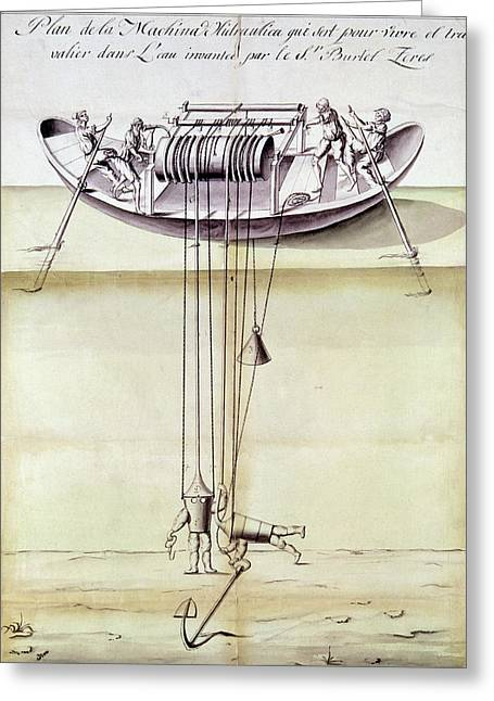 Diving Device, 1791 Greeting Card by Granger