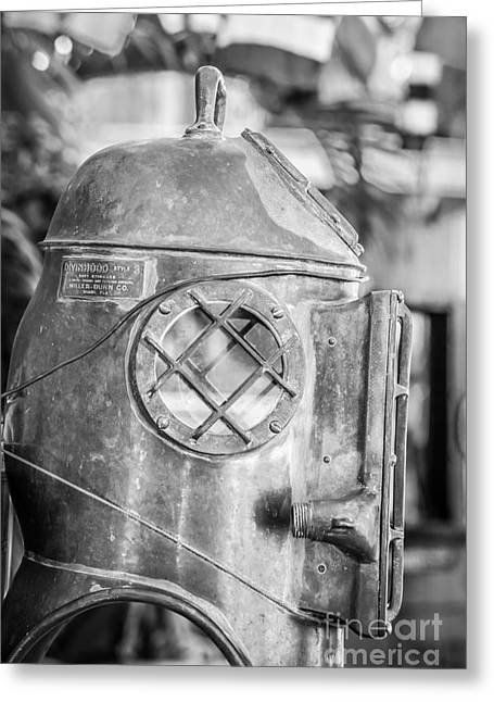 Diving Helmet Key West - Black And White Greeting Card by Ian Monk
