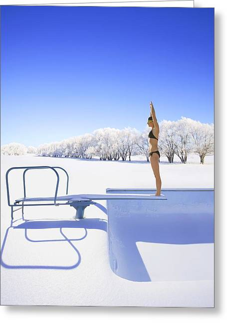 Diving Into Winter Greeting Card by Don Hammond
